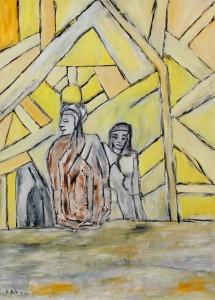 Der Hauch des ersten Taus, Öl / Plakatkarton 2012, 95,6 x 67,9 cm