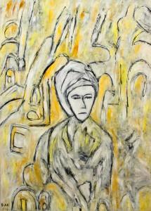 Die wachende Sphinx, Öl / Plakatkarton  2012, 95,6 x 67,9 cm