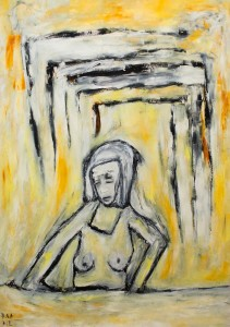 Wartend um noch weiter zu sehen, Öl / Plakatkarton 2012, 95,6 x 67,9 cm