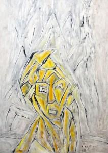 Furcht, Öl / Plakatkarton 2013, 95,6 x 67,9 cm