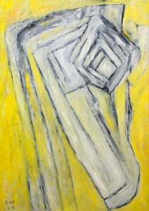 Kubistischer Engel, Öl / Plakatkarton 2012, 95,6 x 67,9 cm