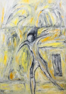 Zeitbarer Weg in jedem Moment als kehrte der entfesselte Geist des Kampfes auf, Öl / Plakatkarton 2012, 95,6 x 67,9 cm