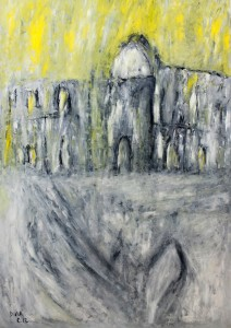 Das Asyl der wolkenlosen Pforten, Öl / Plakatkarton 2012, 95,6 x 67,9 cm