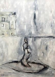 Der verworfenene Einwand des Nichts , Öl / Plakatkarton 2012, 95,6 x 67,9 cm