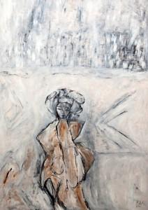 Die Verzweiflung hat keine Flügel, Öl / Plakatkarton 2012, 95,6 x 67,9 cm