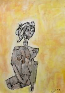 Sinkende Schatten die mich betäuben, Öl / Zeichenpapier 2010, 59,1 x 41,7 cm