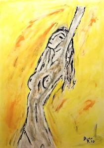 Die unschuldigen Gedanken deiner Augen, Öl / Zeichenpapier 2010, 59,1 x 41,7 cm