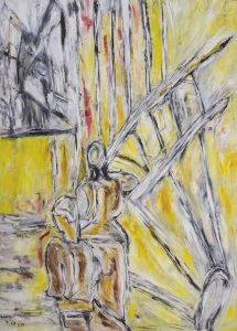 Die Melancholie des verspäteten Himmels, Öl / Plakatkarton 2015, 95,6 x 67,9 cm