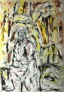 Die gleißende Erinnerung, Öl / Plakatkarton 2014, 95,6 x 67,9 cm