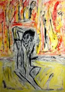 Das Fließen der Woge im Schoß  des windstillen Meeres, Öl / Plakatkarton 2014, 95,6 x 67,9 cm