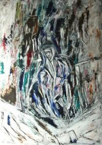 Der Lebensfluss, Öl / Plakatkarton 2014, 95,6 x 67,9 cm