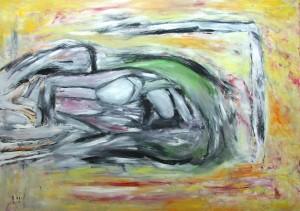 Gebrochener Schmerz, ÖL / Plakatkarton 2014, 95,6 x 67,9 cm