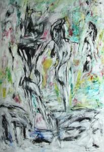 Der Schlaf gibt dem Himmel seine Farbe zurück, Öl / Plakatkarton 2014, 95,6 x 67,9cm