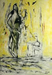 Der Wächter des Portals, Öl / Plaktkarton 2014, 95,6 x 67,9 cm