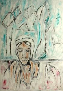 Das Vergessen, Öl / Plakatkarton 2014, 95,6 x 67,9 cm