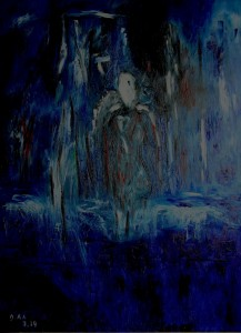 Der schwere Weg, Öl / Plakatkarton 2014, 95,6 x 67,9 cm