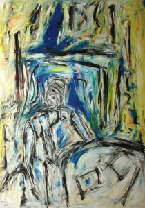 Vor dem Fenster einer entblößten Stirn, Öl / Plakatkarton 2014, 95,6 x 67,9 cm