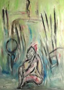 Das liebkoste Vertrauen, Öl / Plakatkarton 2014, 95,6 x 67,9 cm