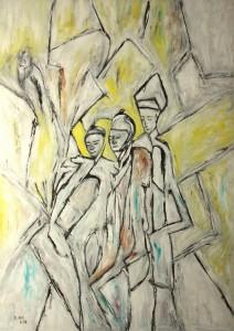 Die heiligen drei Könige, Öl / Plakatkarton 2014, 95,6 x 67,9 cm