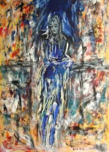 Die Tänzerin, Öl / Plakatkarton 2014, 95,6 x 67,9 cm