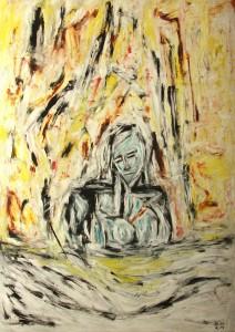 Die Laster der Tugenden, Öl / Plakatkarton 2014, 95,6 x 67,9 cm