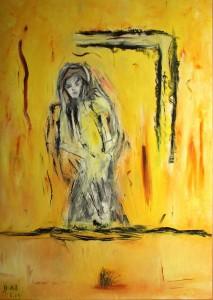 Das schwarze Herz meiner Augen, Öl / Plakatkarton 2014, 95,6 x 67,9 cm