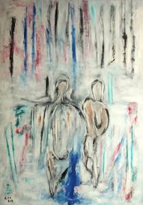 Das bleiche Licht der Erinnerung, Öl / Plakatkarton 2014, 95,6 x 67,9 cm