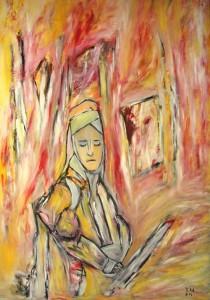 Am hellen Morgen der Abwesenheit, Öl / Plakatkarton 2014, 95,6 x 67,9 cm