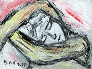 Die laute Stille, Öl / Fotokarton 2014, 18 x 23,9 cm