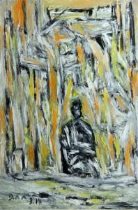 Die Stirn der farblosen Tränen, Öl / Fotopapier 2014, 29,6 x 21 cm