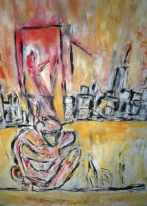 Der entsprungende Schrei, Öl / Plakatkarton 2012, 95,6 x 67,9 cm