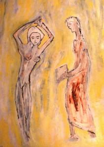 Eine Frau mit bleichem Herzen birgt die Nacht in ihren Kleidern, Öl / Plakatkarton 2012, 95,6 x 67,9 cm