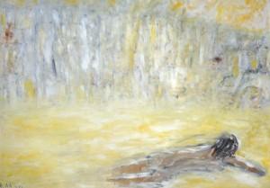Inmitten einer erstaunten Insel, Öl / Plakatkarton 2012, 67,9 x 95,6 cm