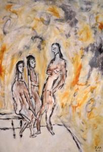 Der Rat der Gesichter, Öl / Plakatkarton 2011, 95,6 x 67,9 cm