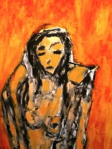 Die ungeduldige Hoffnung, Öl / Zeichenpapier 2010, 59,1 x 41,7 cm