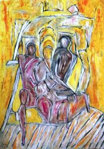 Das zerbrochene Rad der Müdigkeit, Öl / Plakatkarton 2013, 95,6 x 67,9 cm