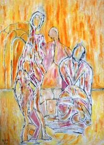 Die Verlassenen im Augenblick des Nebels, Öl / Plakatkarton 2013, 95,6 x 67,9 cm