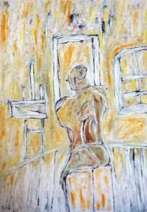 Im Atelier, Öl / Plakatkarton 2013, 95,6 x 67,9 cm