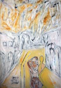 Am Morgen der Launen, Öl / Plakatkarton 2013, 95,6 x 67,9 cm