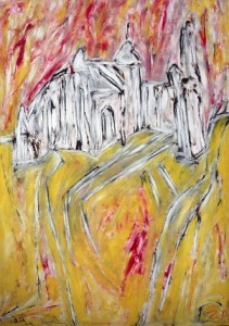 Der dichte Nebel in dem ich taste, Öl / Plakatkarton 2013, 95,6 x 67,9 cm