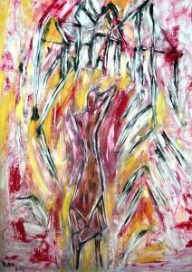 Das träumende Bild des Menschen, Öl / Plakatkarton 2013, 95,6 x 67,9 cm