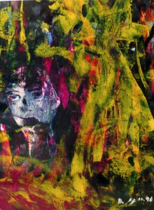 Der Schrei, Öl / Papier 1996, 36,5 x 29,4 cm