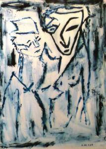 Die Verliebtheit des Minotaurus, Öl / Plakatkaton 2007, 80 x 60 cm