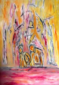 Der Augenblick der Erfüllung, Öl / Plaktkarton 2013, 95,6 x 67,9 cm