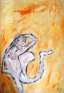 Von Federn verzehrt und dem Meer unterworfen, Öl / Plakatkarton 2011, 95,6 x 67,9 cm
