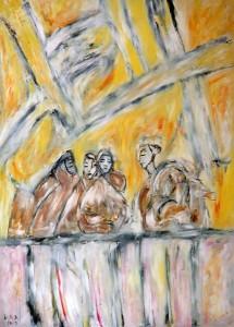 Der Rat der Verblendeten, Öl / Plakatkarton 2012, 95,6 x 67,9 cm