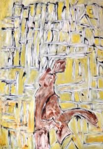 Die verlorene Sonne der Illusion, Öl / Plakatkarton 2013, 95,6 x 67,9 cm