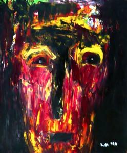 Das Christus Antlitz während der Kreuzigung, Öl / Plakatkarton 1993, 68 x 48 cm