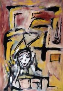 Die Barmherzigkeit, Öl / Plakatkarton 2010, 68 x 48 cm