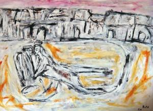 Das ausgepresste Herz, Öl / Plakatkarton 2011, 67,9 x 95,6 cm